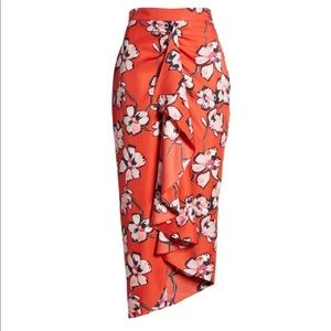 Lewit red floral wrap skirt new
